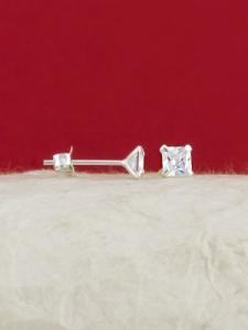 Сребърни минималистични обеци - E002TSQ - 5мм