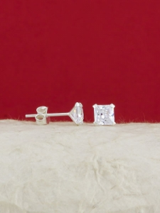 Сребърни минималистични обеци - E002TSQ - 6мм
