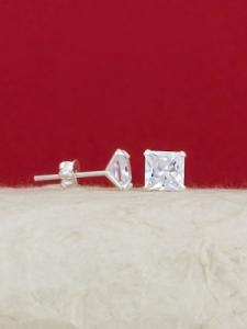 Сребърни минималистични обеци - E002TSQ - 7мм