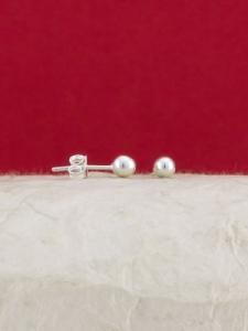 Сребърни обеци топки - E002TBALL - 4мм