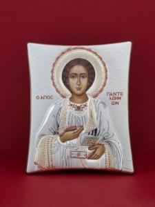 Сребърна икона - Св. Пантелеймон - 133TBR1FWB