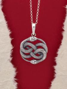 """Сребърен медальон """"Уроборос-2""""- P435"""