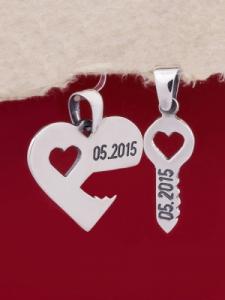 Сребърно сърце с ключ