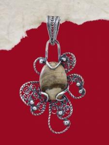 Медальон филигран FP5 - Ландшафт яспис