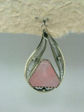 Медальон филигран FPK52 - Розов кварц