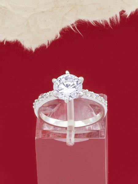 Сребърен пръстен с циркони - R1222S