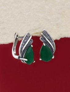 Сребърни обеци - EK011S-GREEN