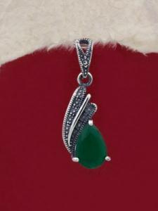 Сребърен медальон - PK011S-GREEN