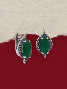 Сребърни обеци - EK012S-GREEN