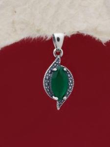 Сребърен медальон - PK012S-GREEN