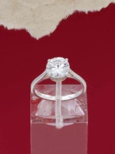 Сребърен пръстен - RK009S-WHITE