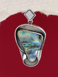 Сребърен медальон със седеф - SPK005