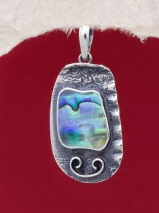 Сребърен медальон със седеф - SPK009