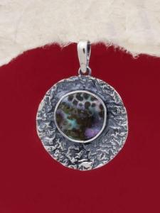 Сребърен медальон със седеф - SPK011