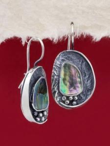 Сребърни обеци със седеф - SEK021