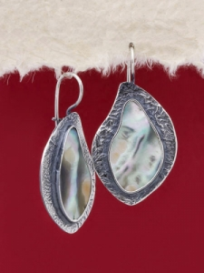 Сребърни обеци със седеф - SEK029