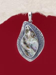 Сребърен медальон със седеф - SPK029