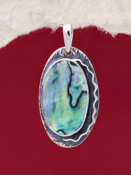 Сребърен медальон със седеф - SPK030