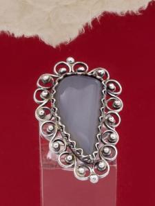 Пръстен от сребърен филигран - FR42 - Лунен Ахат